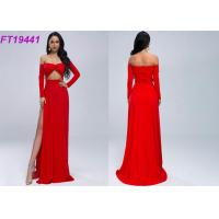 Quality Summer Slit Off Shoulder Red Evening Dress With Long Sleeves For Party for sale