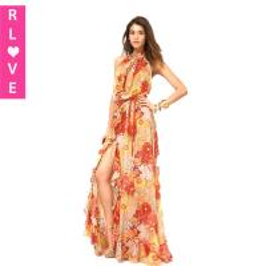 China Excellent design novelty print dress backless halter chiffon dress hem flounced dresses on sale