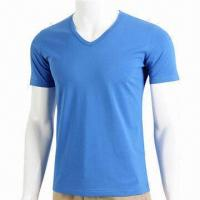 Quality Men's Slim Fit V-neck T-shirt with 95% Cotton or 5% Spandex for sale