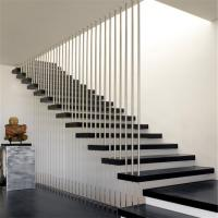 Quality Modern design straight floating staircase with wood tread and glass railing for sale