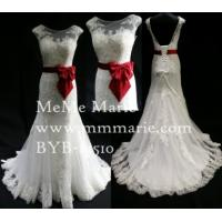 Quality Vintage Low Back White Lace Wedding Dress with Red Ribbon A Line Bridal Gown BYB-14510 for sale