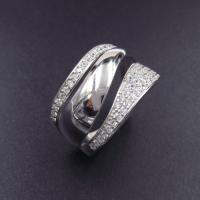 China Smooth Water Line Silver Cubic Zirconia Rings For Anniversary / Party on sale