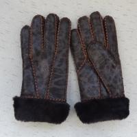 China Attractive design printed Russian sheepskin shearling warm gloves winter on sale