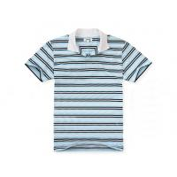 Quality Bamboo Cotton Anti Pilling Mens Striped Polo Shirts Black White Strips Founded for sale