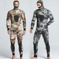 China good quality mens 5mm neoprene two-piece camourflaged wetsuits spearfishing with hood on sale