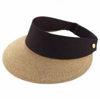 Quality Packable Roll Up Wide Brim Ladies Straw Visor Hats For Outdoor Protecting for sale