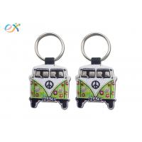 Quality Twill Background Embroidered Keychain Irregular Shape With Laser Cut for sale
