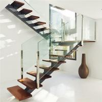 Quality Interior modern design glass railing straight staircase in high quality for sale