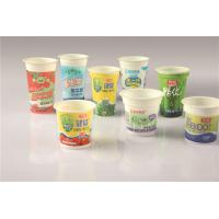 China Disposable Custom Plastic / PP / PS Yogurt Cups With Printed Shrink Label on sale