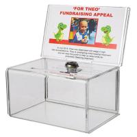 Quality Small Acrylic Fundraise Display Boxes With Lock / Plexiglass Donation Box for sale