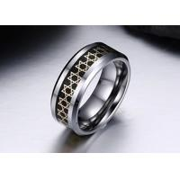 Quality Refined Polishing Stainless Steel Fashion Ring Tungsten Carbide Steel Hexagonal Star Carbon Fiber Material for sale