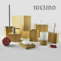 Quality 9 Piece Modern Smooth and Anti Water Bamboo Bathroom Sets for sale
