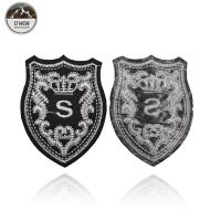 China Royal Exquisite Embroidered Logo Badges With Merrowed Border / Heat Cut Border on sale