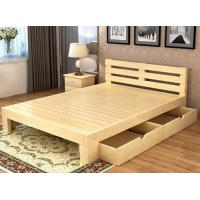 Quality Queen Size Solid Pine Wood Box Frame Bed , Solid Wood Storage Bed With Drawers for sale
