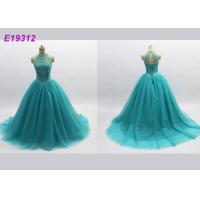China Classical Noble Blue Prom Dresses , Long Tulle Attractive Backless Evening Gowns on sale