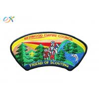 Quality Twill Background Fabric Boy Scout Uniform Patches 100% Embroidery With Merrowed Border for sale
