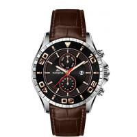 Quality Big Face Multifunction Wrist Watch Stainless Steel With Genuine Leather Strap for sale