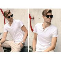 White V Neck Mens T - Shirts Crease Resistant Not Deformed Five-Quarter Sleeve
