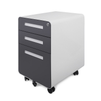 Quality Metal Round Edge Mobile Pedestal 3 Drawers Key Lock Office A4 File Cabinet for sale