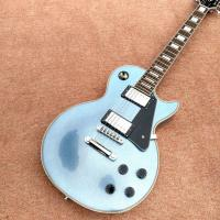 Quality New style high quality custom LP electric guitar, metallic blue, chrome hardware electric guitar, free shipping for sale