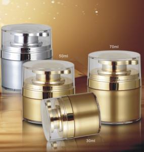Quality Luxury Shiny Gold Empty Plastic Cosmetics Cream Jars 15g 30g 50g for sale