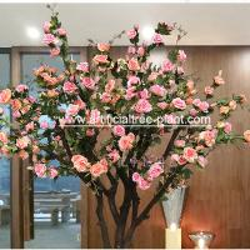 China Contom Interior Artificial Rose Flower Tree For Wedding Home Decoration for sale