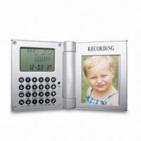 China Recording Photo Frame Clock with Eight-digit Calculator and LCD Display on sale