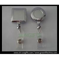 China Silver plated plastic badge reel, round and square shape, unprinted badge reels on sale