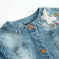 Quality Modern Design Embroidery Jeans Jacket For Girls , Spring Girls Jeans Coat for sale