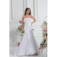 Quality Simple Strapless Mermaid Romantic Lace Wedding Gowns White Sweep Train Lace Wedding Dresses for sale