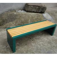 Quality Wooden Seats Metal Backless Garden Bench , Rust - Proof 2 Seater Outside Park Benches for sale