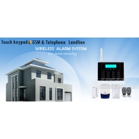Quality GSM Touch Screen Wireless Home Security Alarm System with LCD Display and 30 Wireless Zone for sale