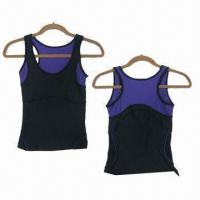 Quality Women's Contrast Tanks, 95/5polyester/spandex jersey and 86/14 polyester/spandex mesh for sale