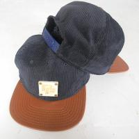 Quality Six Panel Black Corduroy and Brown PU Leather Fashion Cap, a Wood on Front Panel Snapback Hat (TF-Sn181) for sale
