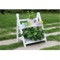Quality Eco - Friendly Outdoor Patio Shelves , White Color 2 Tier Wooden Plant Stand for sale