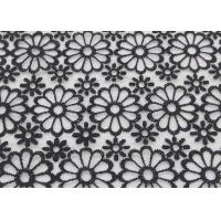 Quality Black Embroidered Lace Fabric Floral Lace Organza Polyester Fabric For Dresses for sale
