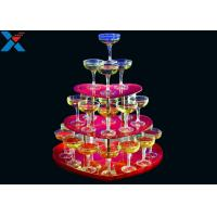 Quality Party Acrylic Wine Rack , 3 Layers Acrylic Champagne Tower For Wedding for sale