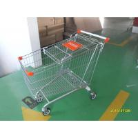 Safety Handle Bar 4 Wheel Shopping Trolley 210L With Colored Plastic Parts