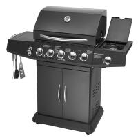 Quality 5 Burners And Side Burner Gas BBQ Grill With Gast Iron Hotplate And Enamel Hoods for sale