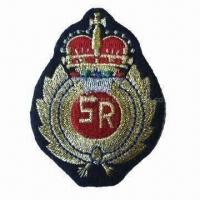 Quality Embroidered Military Emblem with Metalic Thread, Suitable for Garments, Footwear and Toys for sale