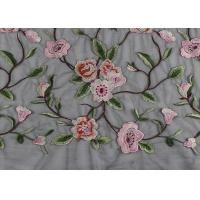 Buy Gray Polyester Flower 3D Embroidered Lace Fabric By The Yard For Lady Dress at wholesale prices