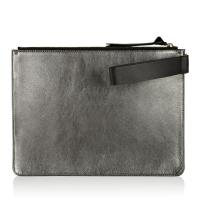 Quality Metallic Leather Suede Leather Pouch Bag , Genuine Leather Wristlet Bag for sale