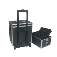 Quality Aluminum Makeup Trolley Case Black Rolling Alu Cosmetic Case with Two Layer for sale