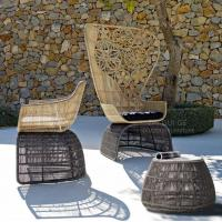Quality Outdoor Garden wicker furniture sofa sets PE rattan highback chair patio Lounge chair for sale