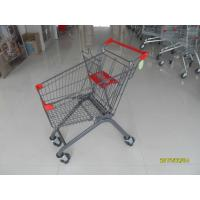 Red 80L Supermarket Shopping Carts Trolley With Customized Logo On Handle