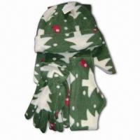 Quality Five-piece Fleece Print Set, Includes Headband, Hat, Scarf, Glove and Ear Hat for sale