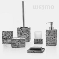 Quality Antique Silver Color Polyresin Bathroom Set With Glass Cup Stylish Accessories (WBP0804A) for sale