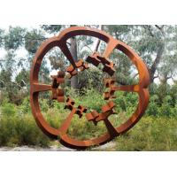 Quality Oxide Color Rusty Garden Sculptures , Metal Garden Flowers Sculpture 150cm Heigh for sale