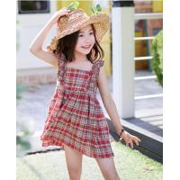 Quality 2-6year girls Summer dresses  100% cotton plaid skirt with shoulder-straps for sale