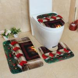 Quality New 3 pieces bathroom Carpet set Christmas decorative  Toilet Mat Three Sets of Bath Mat for sale